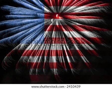 American Flag Colors Fireworks Stock Photo (Safe to Use) 2410439