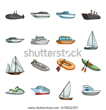 Yacht Boat Liner Types Ship Water Stock Illustration 676822207 - types of ships