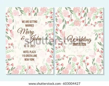 Pink Green Wedding Invitation Thank You Stock Vector HD (Royalty