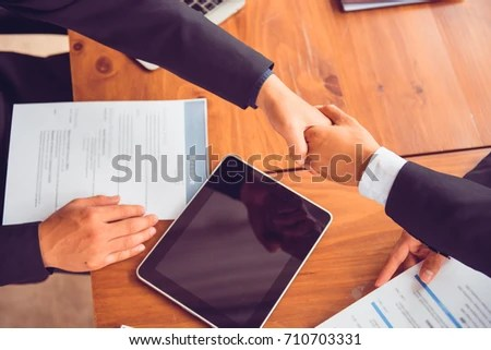 Boss Human Resources Manager Handshaking Male Stock Photo (Safe to