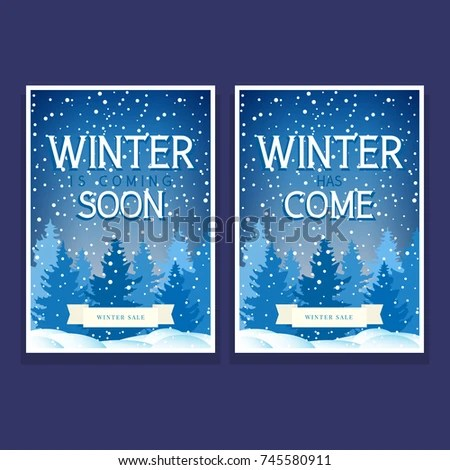 Two Festive Flyers Spruces Snowflakes Text Stock Vector (2018