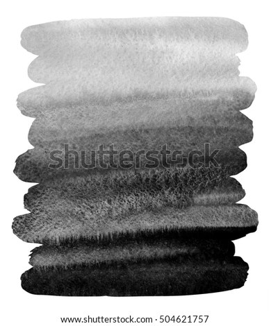 Black Watercolor Background Brush Drawn Stripes Stock Illustration