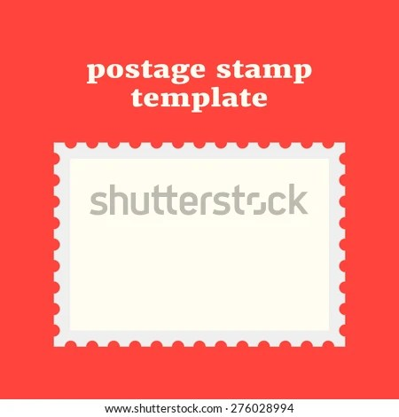Postage Stamp Template On Red Background Stock Vector 276028994 - stamp template