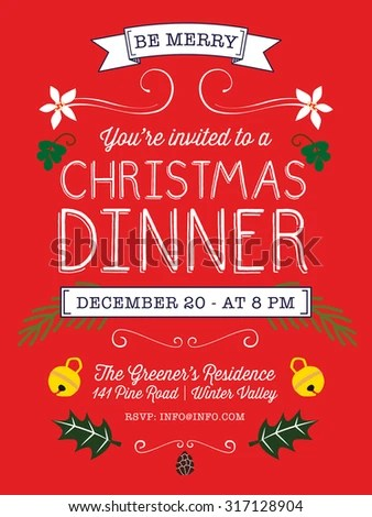 Christmas Dinner Invitation Flyer On Red Stock Photo (Photo, Vector