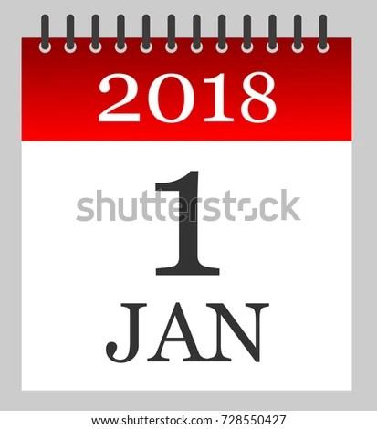1 Jan 2018 Daily Calendar Illustration Stock Vector (Royalty Free