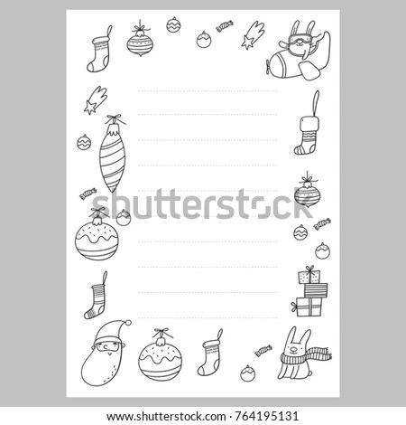 Christmas Coloring Page Christmas Wish List Stock Vector 764195131