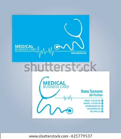 Blue White Modern Business Healthcare Medical Stock Photo (Photo - medical business card templates