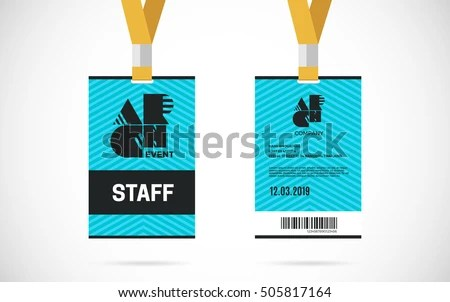 Event Staff Id Card Set Lanyard Stock Vector HD (Royalty Free