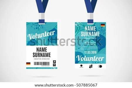 Event Volunteer Id Card Set Lanyard Stock Vector 507885067 - event card template