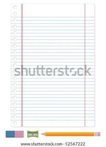 Blue Ruled Lined Blank Paper Pencil Stock Vector 52567222 - Shutterstock