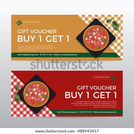 Gift Voucher Template Food Pizza Restaurant Stock Vector 488943457 - lunch voucher template
