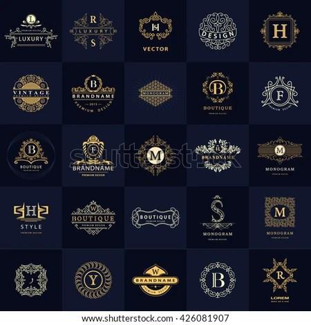 Line Graphics Monogram Vintage Logos Design Stock Vector HD (Royalty