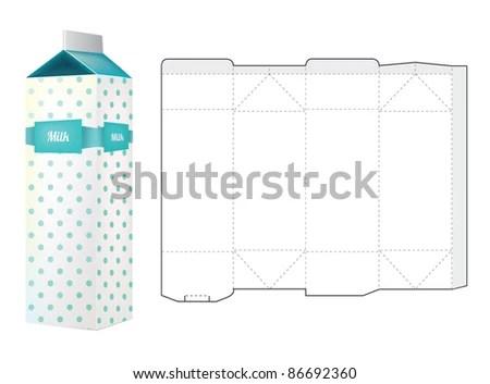 Template Milk Carton Box Stock Vector 86692360 - Shutterstock - Milk Carton Template
