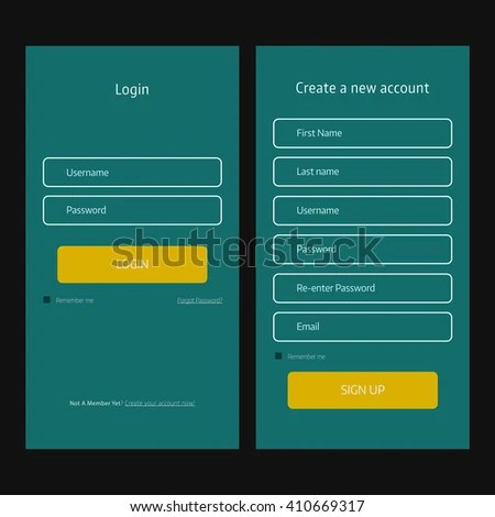 UI Elements App Login Form Registration Stock Photo (Photo, Vector