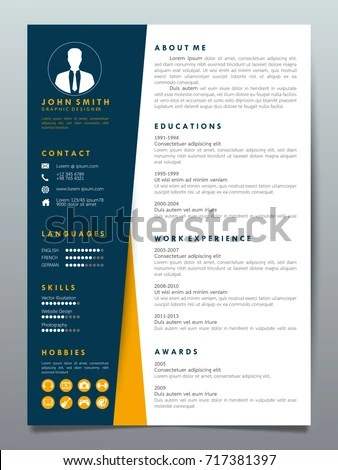 Resume Design Template Minimalist Cv Business Stock Vector 717381397