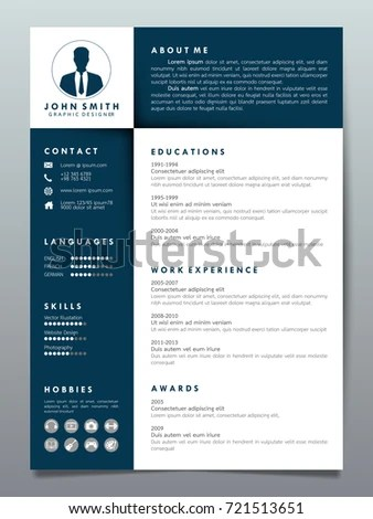 Resume Design Template Minimalist Cv Business Stock Vector 721513651 - resume design