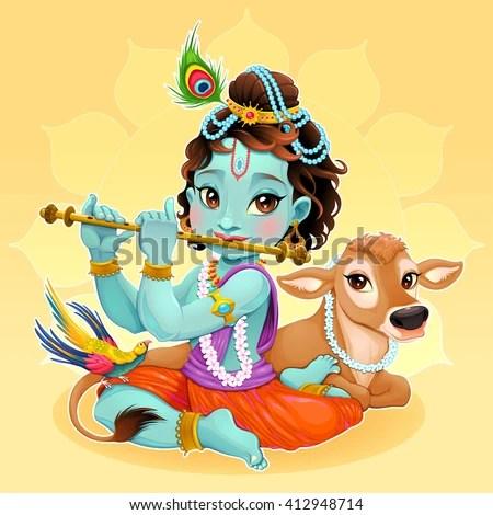 Lord Vishnu Animated Wallpapers Baby Krishna Sacred Cow Vector Cartoon Stock Vector