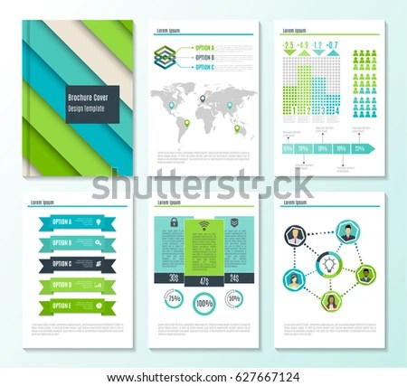 Set Corporate Business Stationery Brochure Templates Stock Vector