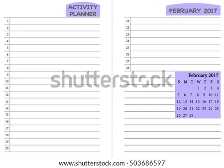 February 2017 Calendar Template Monthly Planner Stock Vector (2018 - daily monthly planners