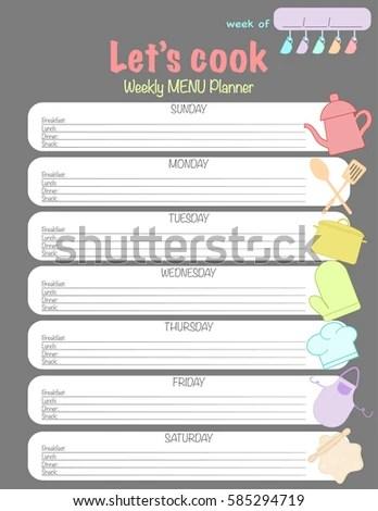 Weekly Menu Planner Template Meal Schedule Stock Vector 504166555 - weekly menu