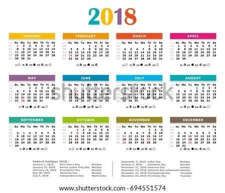 2018 Multicolored American Vector Calendar Full Year Stock Vector