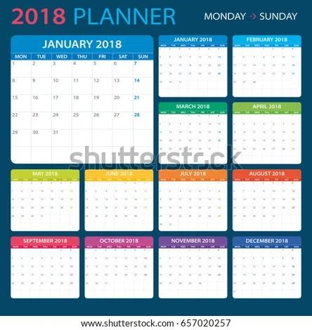 Calendar Planner 2018 Monday Sunday Stock Vector 657020257 - monday sunday calendar