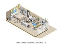 Vector Isometric Low Poly Hotel Room Stock Vector ...