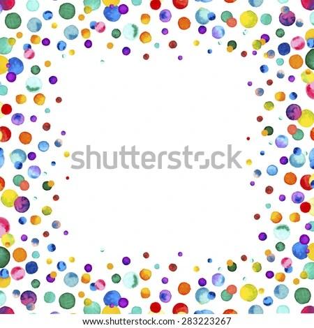 Purple Falling Circles Wallpaper Watercolor Rainbow Colored Confetti Border Space Stock