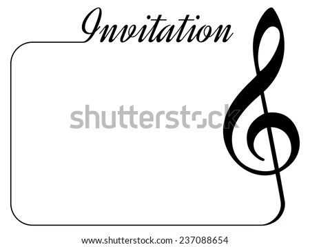 Invitation Card Music Performance Concert Isolated Stock Photo - treble clef template