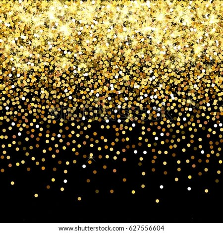 Falling Glitter Confetti Wallpapers Falling Golden Particles On Black Background Stock Vector