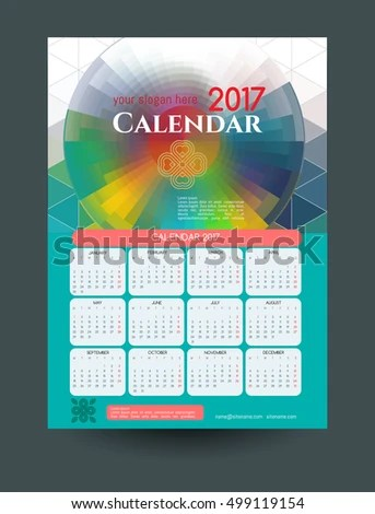 Calendar 2017 Template Calendar Modern Colorful Stock Vector