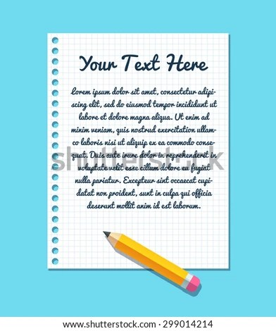 Text Template On Sheet Lined Notebook Stock Vector HD (Royalty Free