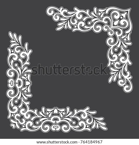 Two White Vintage Corners Outline On Stock Vector 764184967
