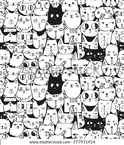 Iphone Collage Wallpaper Maker Hand Drawn Cats Seamless Vector Pattern Stock Vector