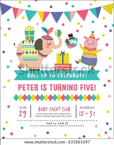 Kids Birthday Party Invitation Card Circus Stock Vector 631861697 - circus party invitation