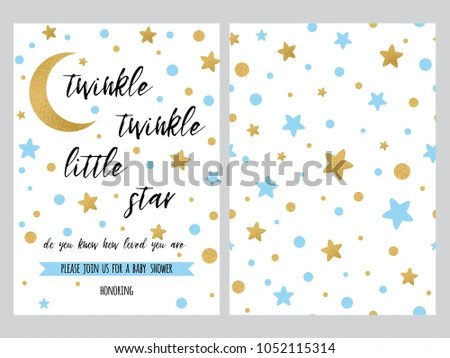 Baby Shower Invitation Template Sparkle Gold Stock Vector HD - baby shower invite templates