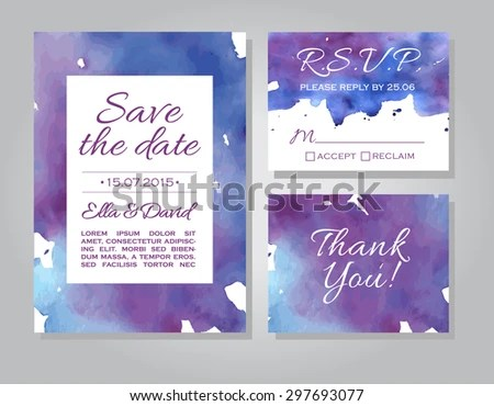 Vector Wedding Invitation Card Template Set Stock Photo (Photo - wedding template
