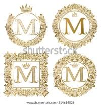 Vintage Monograms Set M Letter Golden Stock Vector ...