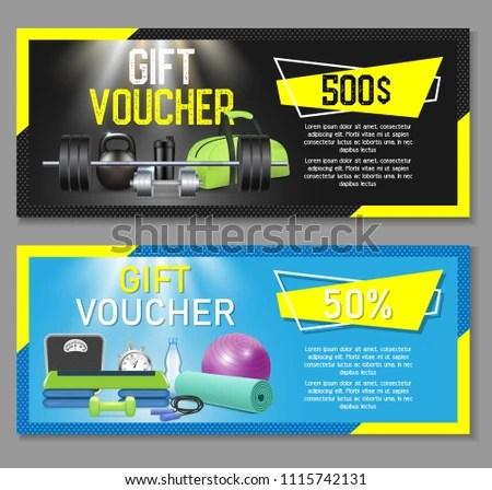 Fitness Gift Voucher Template Set Vector Stock Vector 1115742131