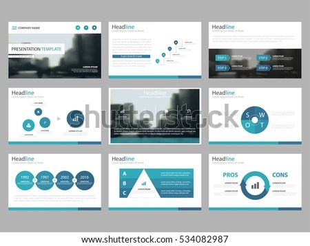 Blue Abstract Presentation Templates Infographic Elements Stock