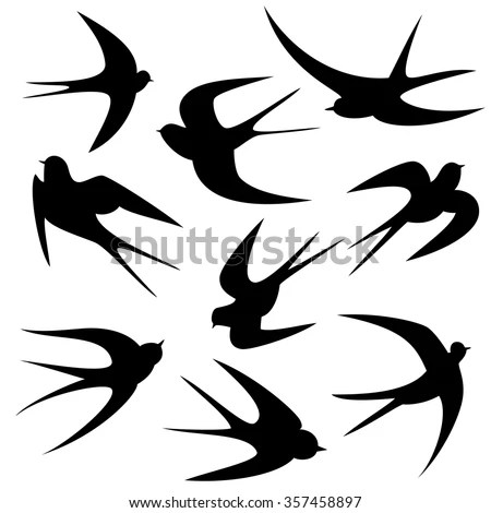 Swallows Tattoo Template Vector Silhouette Stock Vector 357458897 - tattoo template