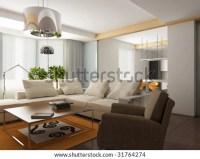 Big Comfortable Living Room Bright Sofa Stock Photo ...