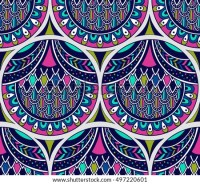 Vector Seamless Pattern Stylized Peacock Feathers Stock ...