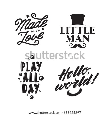 Set Kid Clothes Typography Prints Quotes Stock Vector HD (Royalty - allday quotes