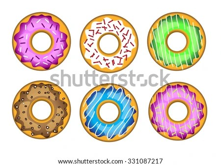 Vector Set Tasty Sweet Colorful Donuts Stock Vector 331087217 - donut template