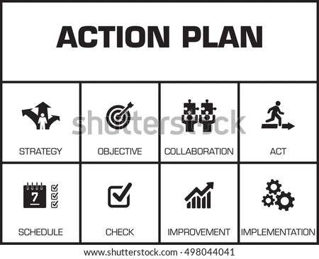 Action Plan Chart Keywords Icons Stock Vector 498044041 - Shutterstock