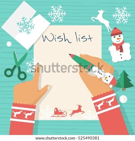Child Table Writing Letter Santa Claus Stock Vector HD (Royalty Free - santa list blank