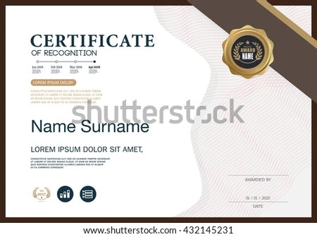 Certificate RECOGNITION Frame Design Template Layout Stock Vector - certificate of recognition template
