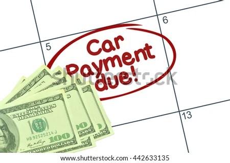 Car Payment Due Circled On Calendar Stock Photo 442633135 - bill calendar