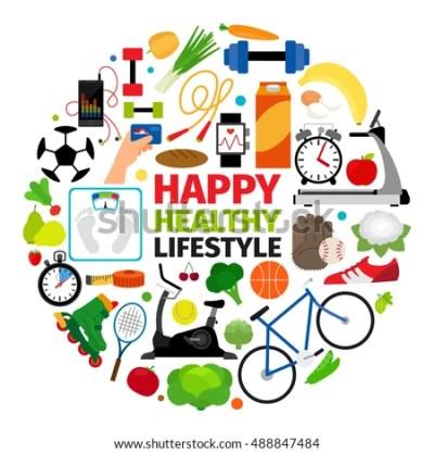 Healthy Lifestyle Emblem Fitness Promenade Food Stock ...